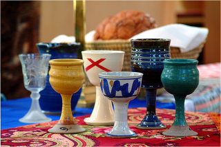 Communion Chalices, including The Discples' Chalice, which represents the centrality of communion to the life of the church