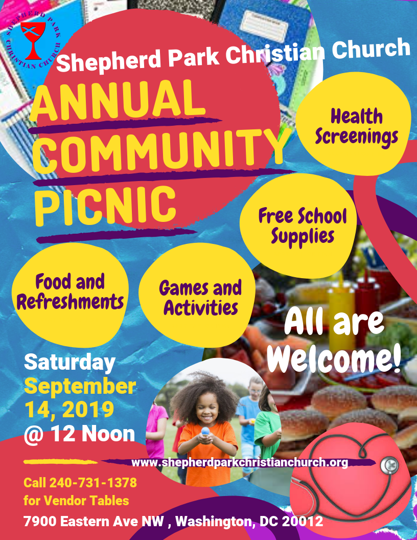 Shepherd Park Christian Church Annual Community Picnic, September 14, 2019 at 12 noon